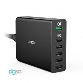 شارژر دیواری انکر مدل PowerPort+ 6 (مجهز به تکنولوژی Quick Charge 3.0)شارژر موبایل